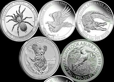 Mix 5 Pcs/lot Australian Silver Coins 1 Oz Fine Silver
