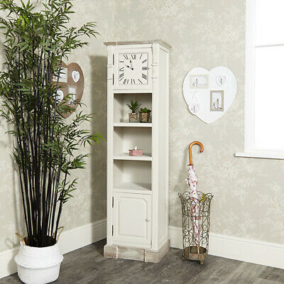Tall cream wooden grandfather clock shelving display country chic storage shelf