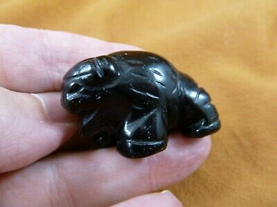 (Y-BUF-572) little Black Onyx BUFFALO bison gemstone carving gem figurine stone