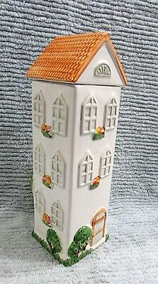 "12"" Tall House Spaghetti Canister Old 1990's Hand Painted Ceramic Jar FREE S/H"