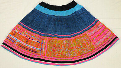 Vintage tribal exotic chinese minority people's hand batik embroidery flex skirt