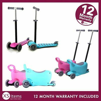 Kids 3 in 1 Push Scooter T-Bar Tilt Removeable Seat Storage Flashing LED 3 Wheel