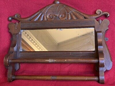 LARGE Antique Carved Victorian Eastlake Style Mirror Walnut Pediment Corbel