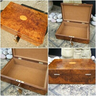 WONDERFUL LARGE 19c BURR WALNUT ANTIQUE DOCUMENT/JEWELLERY BOX  FAB INTERIOR