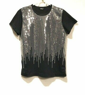 Tricot Comme des GARCONS Women's T-shirt with Sequins  Black Made in JAPAN
