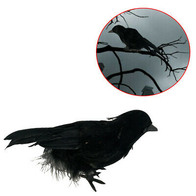 Halloween Realistic Prop Black Crows Rubber Simulation Party Home Bird Toy Decor