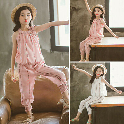 Girls Children Sleeveless Tops+pants Summer Outfits 2pcs/set Suit Vest Trousers