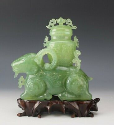 Chinese Export Hand Carved Green Celadon Jade Ram Lidded Vase Gemstone Sculpture