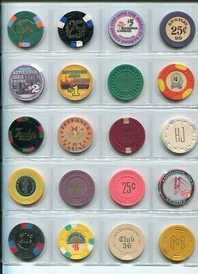 Group Lot Collection  ( 20 ) All Different California  Lg Sm Crown  Chips  # 2