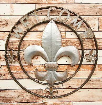 "Oversized 24""W Rustic Fleur De Lis Welcome Sign Vintage Metal Circle Wall Decor"
