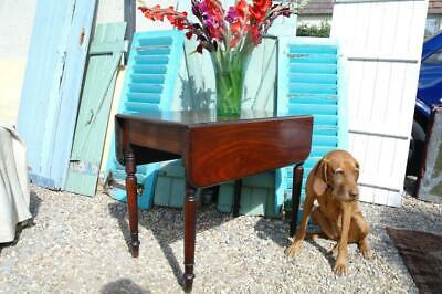 Antique Victorian Mahogany Pembroke Drop Leaf Table With Drawer, Rustic Kitchen