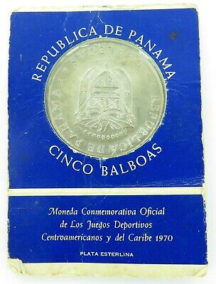 1970 REPUBLIC of PANAMA UNC STERLING SILVER 5 BALBOAS COMMEMORATIVE COIN PACK