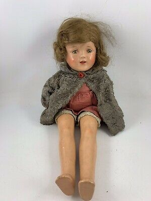 Vintage Composition 17 Inch Shirley Temple Doll With Sleepy Eyes