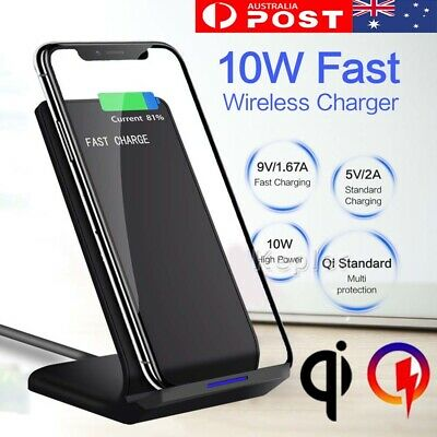 Qi Wireless Charger Fast Charging Dock For iPhone X XS XR 8 plus Samsung S10+ S9