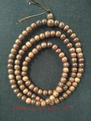 Collection Ancient Chinese Rosewood Carving 108 Buddhism Prayer Beads