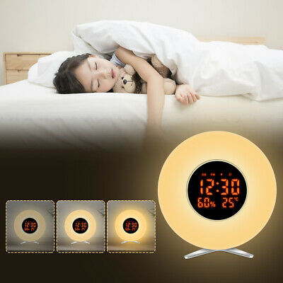 6 Farben LED Wecker Wake up Light Stimungs-Licht-Wecker Touch Sunrise Weckalarm