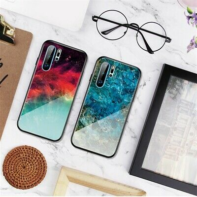 For Huawei Mate 20 Pro Shockproof Tempered Glass Starry Sky Marble Case Cover