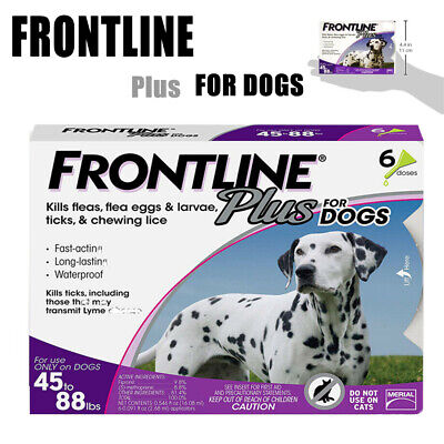 Frontline Plus for Dogs 45-88 lbs 6 Doses Genuine USA,Flea Control and Treatment
