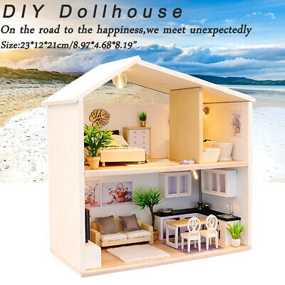AU DIY Wooden Doll House Miniature Kit Ancient Architecture Dollhouse Toy Gifts