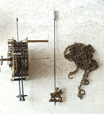 Clock Movement 1965 Appox Zaanse Clock Vintage Pendulum Dutch 8 Day Chains Hands