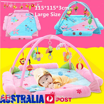 115CM Large Foldable Kid Baby Musical Play Mat  Gym Activity Playmat Hanging Toy