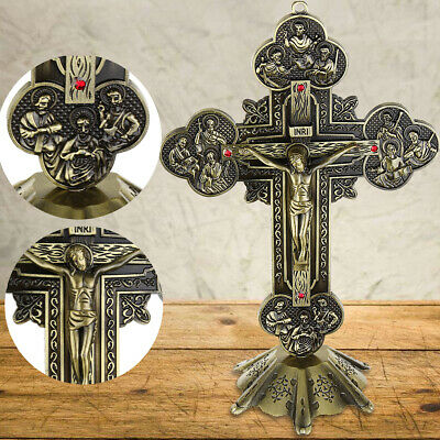 Antique Bronze Catholic Religious Altar standing Wall Crucifix Cross Church INRI