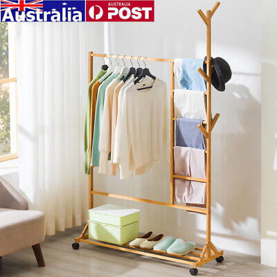 Wooden Clothes Hanger Rack Storage Stand Shoe Garment Coat Bag Hat Bamboo Holder