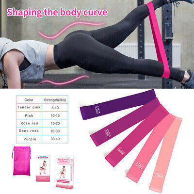 New Workout Resistance Bands Loop Set Fitness  Booty Leg Exercise Band AU