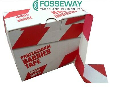 Professional Red & White Barrier Tape (70mm x 500m)