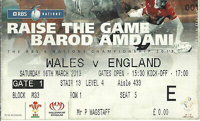 Wales  v England Championship match for Wales 16 Mar 2013 RUGBY TICKET