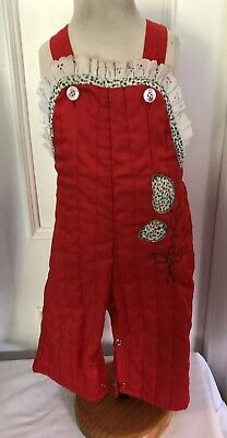 Vintage Mothercare Red Quilted Dungarees Age 9 Months