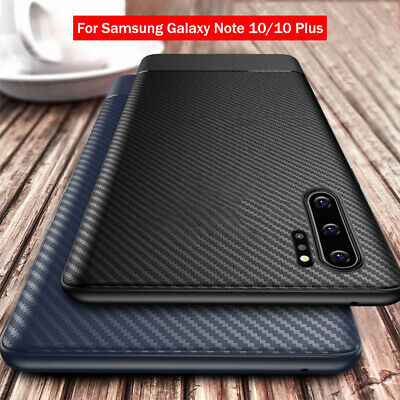 For Samsung Galaxy Note 10 Plus Shockproof Slim Carbon Fiber Rubber Case Cover