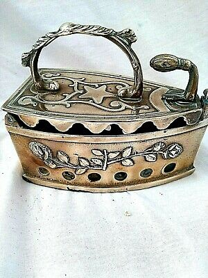 Vintage Brass Coal Iron with Hinged Latch Decorative Ornament