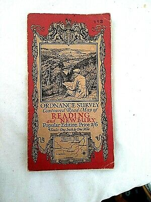 Vintage Reading & Newbury Ordance Survey Map England Wales One inch