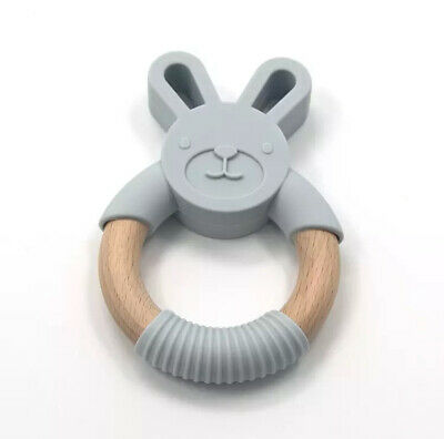 Baby Teether Toy Teething Ring Wood Silicone Eco Friendly Food Grade Boy Girl