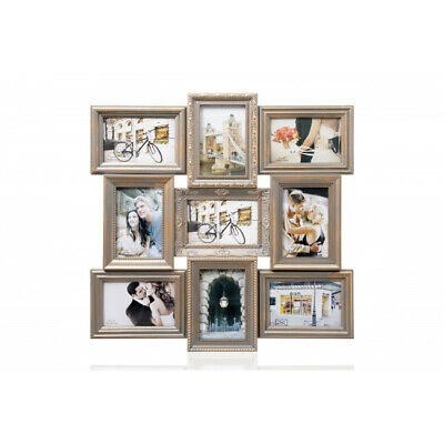 """Multi Aperture Photo Frame Holds 9 4x6"""" Photos Gold Perfect for Gift New"""
