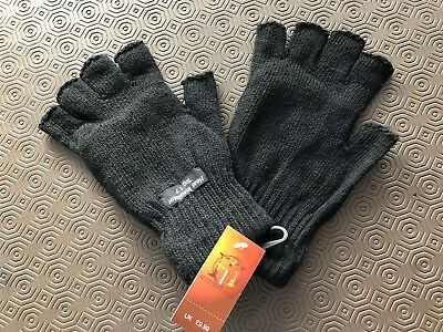 Unisex Black Thinsulate Heat Insulator Fingerless Knitted Gloves Winter One Size