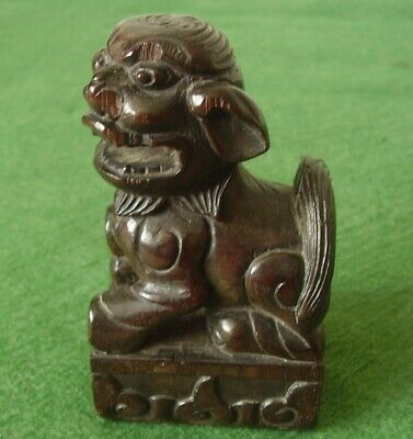 ANTIQUE CHINESE QUALITY CARVED WOODEN FOO DOG LION DOG FIGURE SHISHI circa 1830