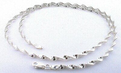20 Inch 3.3mm Italian Sterling Silver Twisted Diamond Cut Chain Necklace SC13