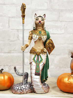 "11""H Colorful Egyptian Feline Goddess Bastet Cat In Slain Snake Apep Tail Statue"