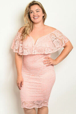 Womens Plus Size Peach Lace Overlay Cocktail Dress 3X Cold Shoulder Bodycon