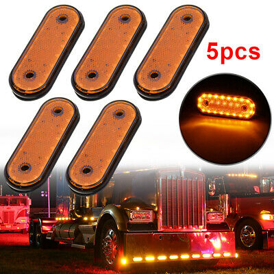 Oval Chrome Aux Oval Led Parking and Turn Signal Trailer Tail Lights 3 Wires Oval Led Truck cab Marker Lights Partsam 1pc 6-3//5 Amber Oval Led Trailer Truck Side Marker Lights 18LED