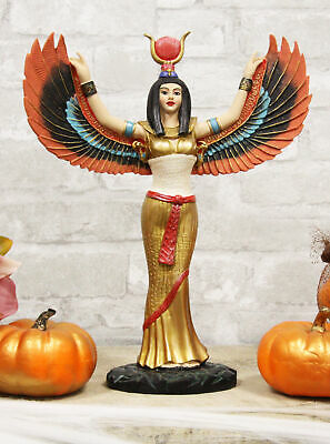 "Colorful Egyptian Goddess Isis Ra With Open Wings On Gold Robe Statue 12"" Tall"