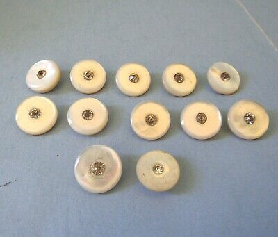 12 MOP Pearl BUTTON with Rhinestone Center Metal Shank Vintage