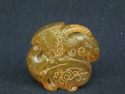 Antique Collection Chinese Jade Carving Sheep Cup Statue Pendant Decoration Gift