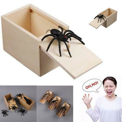 Halloween Wooden Prank Spider Worm Scare Box Funny Practical Joke Gag Toys Trick