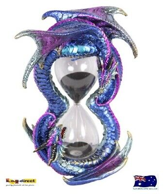 Gothic Twin Dragon Hourglass Sand Timer Hour Glass Black Sand 10 Minute Dragsand