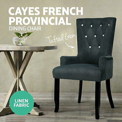 Artiss CAYES Fabric Dining Chair French Provincial Chairs Wooden Retro Armchair