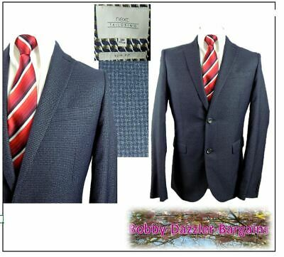 "Next Tailoring SLIM FIT 2 piece mens suit Ch38""R W34"" L29"" Blue & Navy Check"