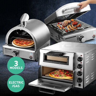 Commercial Pizza Oven Maker Grill Countertop Cooking Stone Base Stainless Steel